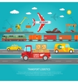 Logistics transportation details flat poster print vector image vector image