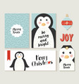 merry christmas penguin card and label set vector image vector image