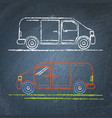 minivan car sketch on chalkboard vector image vector image