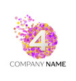 number four logo red particles and bubble dots vector image vector image