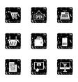 Online shopping icons set grunge style vector image
