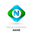 realistic letter n logo in colorful rhombus vector image vector image