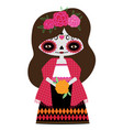 red catrina doll vector image