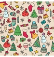 seamless pattern doodle christmas vector image