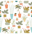 seamless pattern with exotic house plants on white vector image