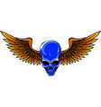 skull with bird wings vector image vector image