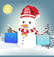 snowman with winter sale shopping paper bag vector image