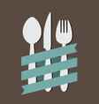 Spoon Knife Fork With Ribbon Flat vector image vector image