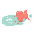 Two red hearts with blue watercolor style stroke vector image