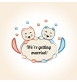 vintage wedding badge with cute cats vector image