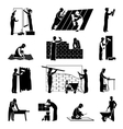Worker Icons Black vector image