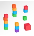 Cube combination icons set Perspective view vector image