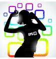 Music girl silhouette vector image