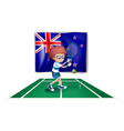 A tennis player in front of the flag of New vector image vector image