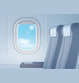 aircraft interior with realistic smooth window and vector image vector image