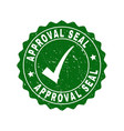 approval seal grunge stamp with tick vector image