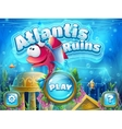 Atlantis ruins with fish rocket vector image vector image