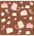 background with cats and cakes vector image