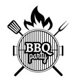 barbecue party label vector image