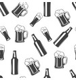 beer glass and bottle monochrome seamless pattern vector image