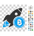 bitcoin rocket icon with bonus vector image vector image