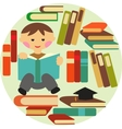 boy reading on pile of books vector image vector image