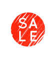 bright red round retro sale badge on white vector image