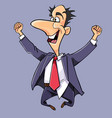 cartoon man in a suit and tie jumped up vector image vector image