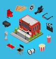 cinema concept isometric view vector image vector image
