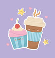 coffee in container plastic and cupcake kawaii vector image