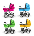 colored strollers for baby boys and baby girls vector image vector image