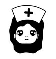 contour kawaii professional nurse face with hat in vector image