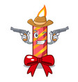 cowboy character christmas decoration with vector image