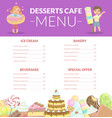 desserts cafe menu kids food menu ice cream vector image vector image
