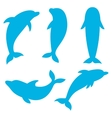 dolphin silhouettes on white background vector image