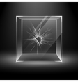 Empty Transparent Broken Crack Glass Box Cube vector image vector image
