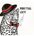 fashion background with stylish leopard guy vector image