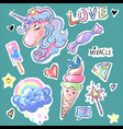 fashion patch badges with unicorns hearts vector image