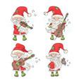 four santa merry christmas musician vector image