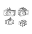 gift box set sketch engraving vector image vector image