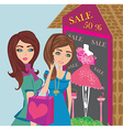 Girls on big shopping sale vector image