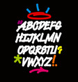 graffiti font with drips and colorful decorations vector image vector image
