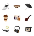 Hipster culture icons set flat style vector image vector image