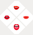 icon flat lips set of kiss teeth smile and other vector image vector image