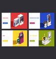 isometric interfaces banners set vector image vector image
