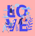 love couple character dating banner happy lover vector image vector image