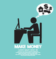Make Money Person Working With Laptop vector image vector image