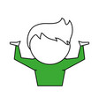 man cartoon with arms up expressing doubt icon vector image vector image