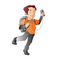 man with a backpack and music player vector image vector image