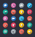 media and communication simple color icons vector image